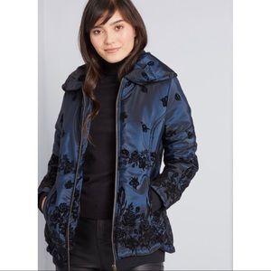 Plus Size ModCloth Blue Velvet Puffer Jacket